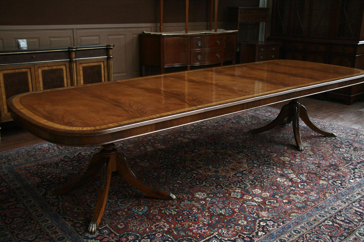 long mahogany dining table in walnut finish reproduction