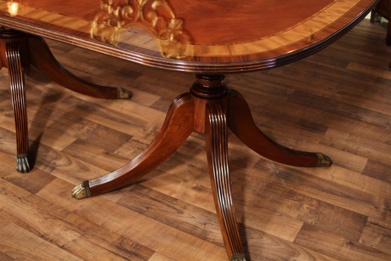 12 Foot Dining Table On Solid Mahogany Duncan Phyfe Pedestals
