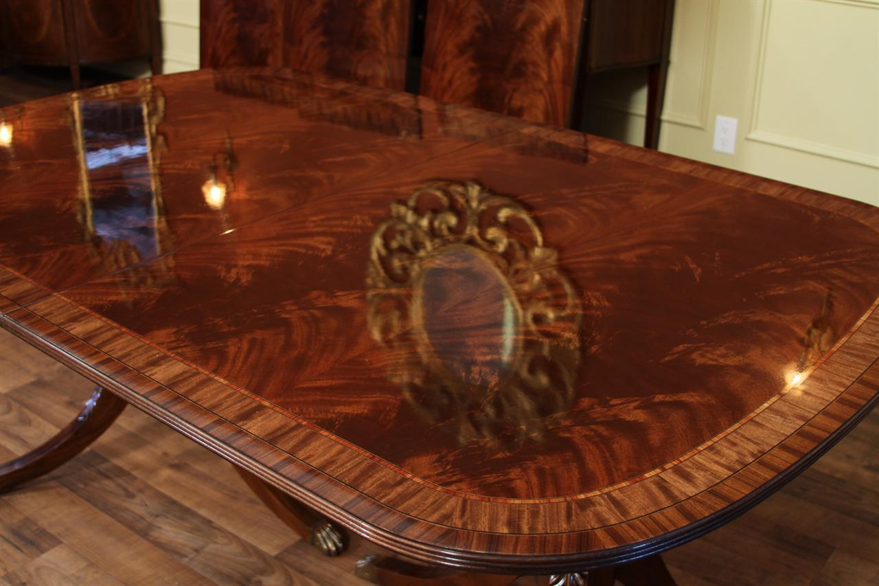 High end double pedestal mahogany dining room table for High end dining tables