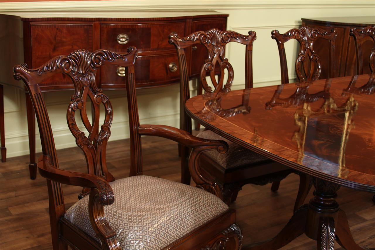 inlaid double pedestal mahogany dining table seats 14 people. Black Bedroom Furniture Sets. Home Design Ideas
