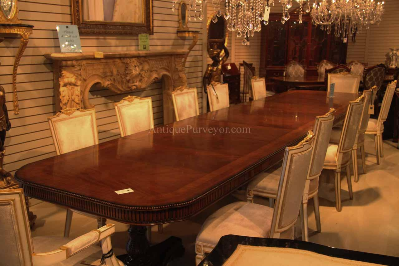 Regency style triple pedestal dining table opens to 16 feet for 12 foot long dining room table
