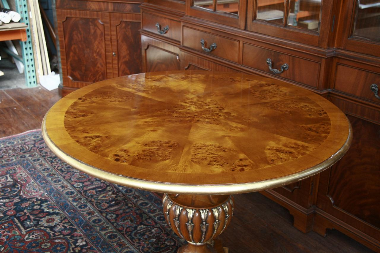 Perfect 40 Round Pedestal Table | Gold Leaf Accent Table | Mahogany  AF07