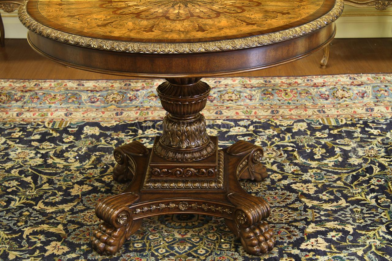 Mahogany And Walnut Inlaid Empire Style Center Table With Gold Accents