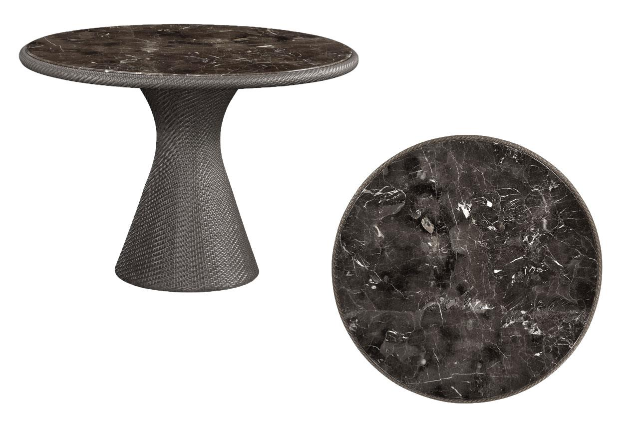 Outdoor Gray Rattan Marble Top Table 43 Inch Round Table