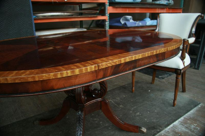 details about 44 round dining table w leaf mahogany pedestal table