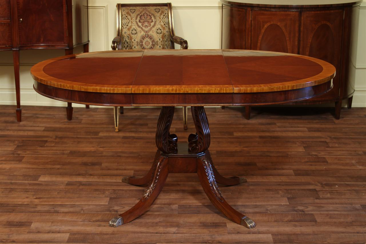Round mahogany pedestal dining table 44 reproduction for 44 inch round dining table with leaf