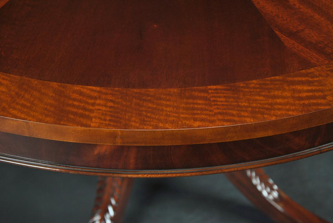 44 round dining room table 1 leaf round mahogany pedestal table 7881