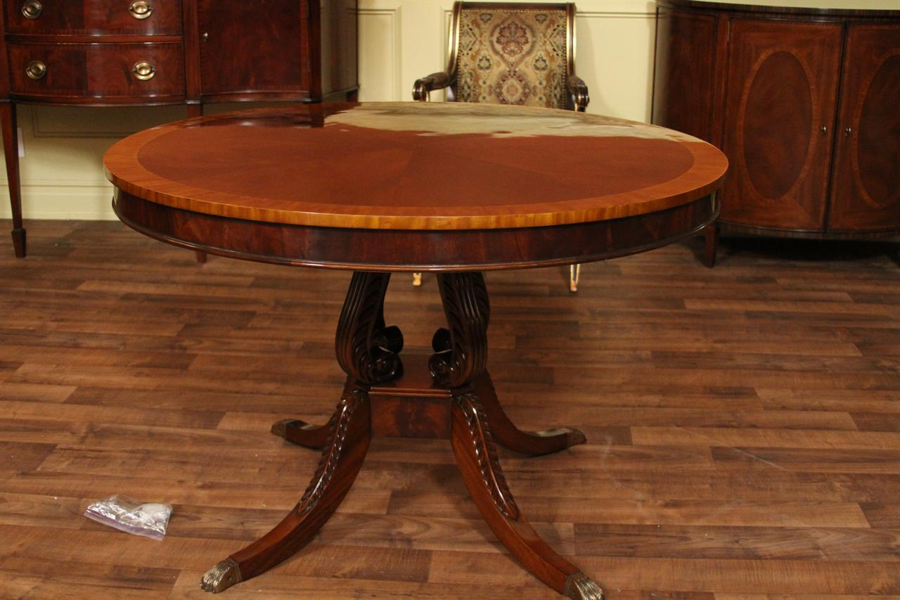 Round mahogany dining table 44 reproduction antique for Antique dining room tables