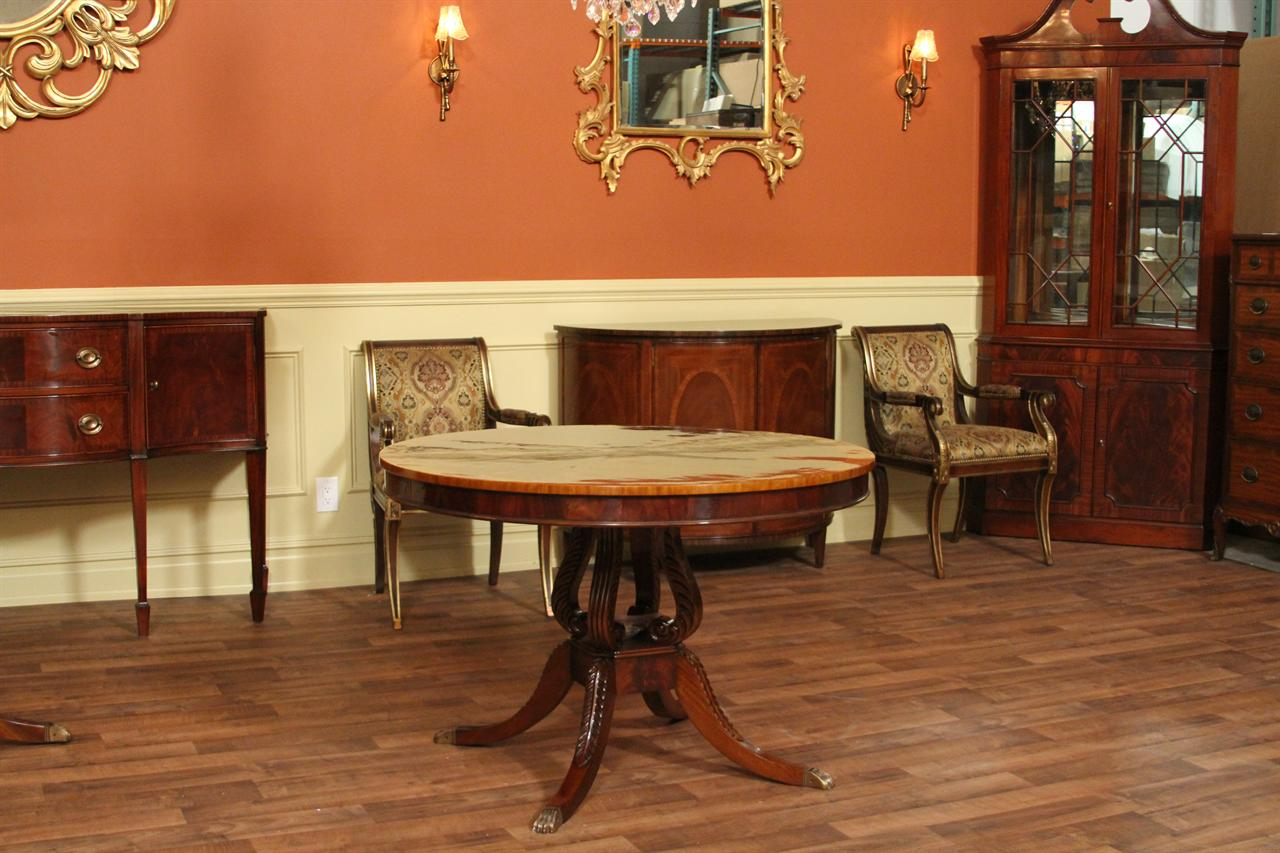 measurements this round mahogany dining table is 44 round and 30 high