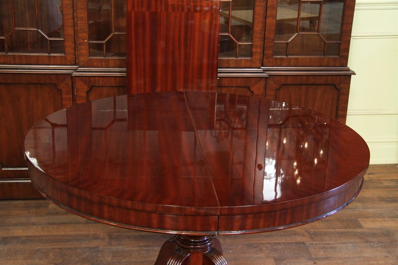 about 44 round dining table with leaf round mahogany dining table