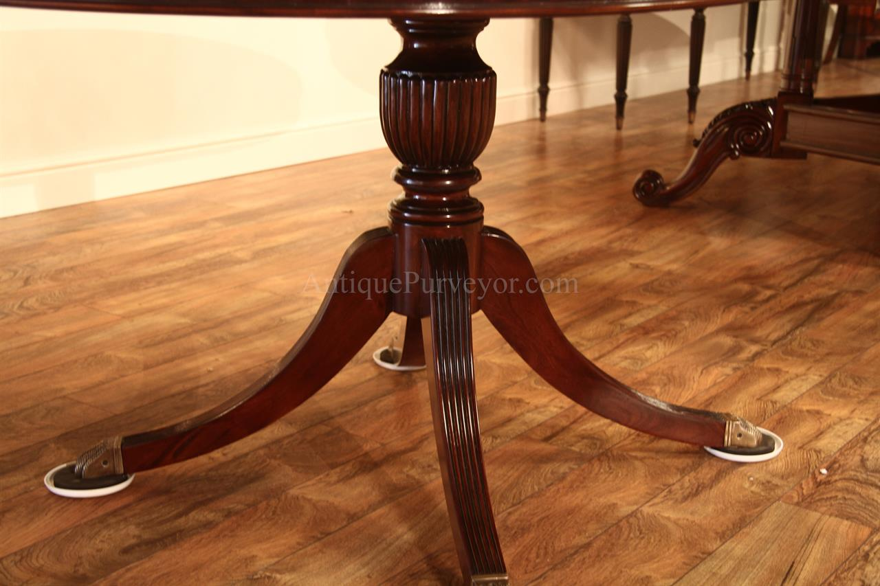 44 Round Mahogany Dining Table With Leaf Mahogany Drum Table