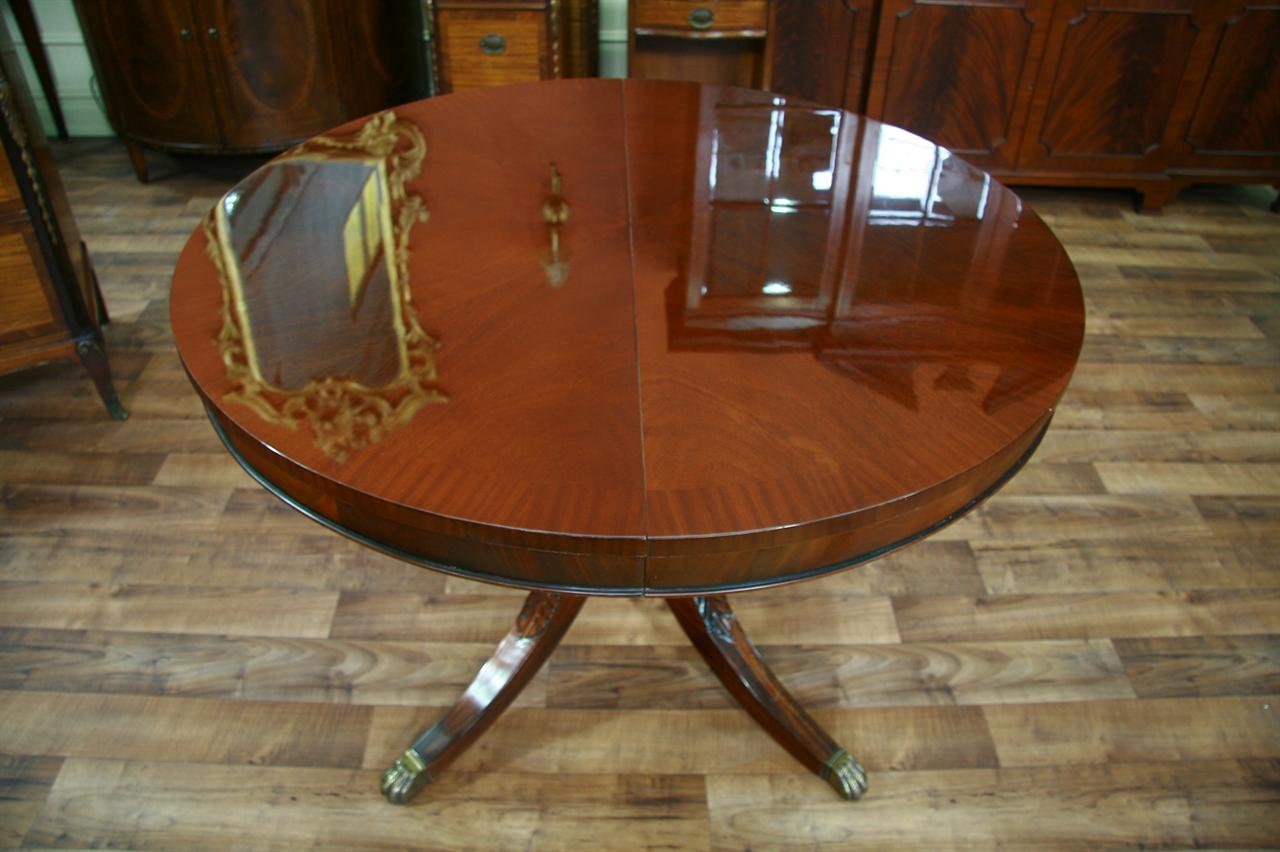 44 Round Dining Table With Leaf Round Mahogany Dining Table Ebay