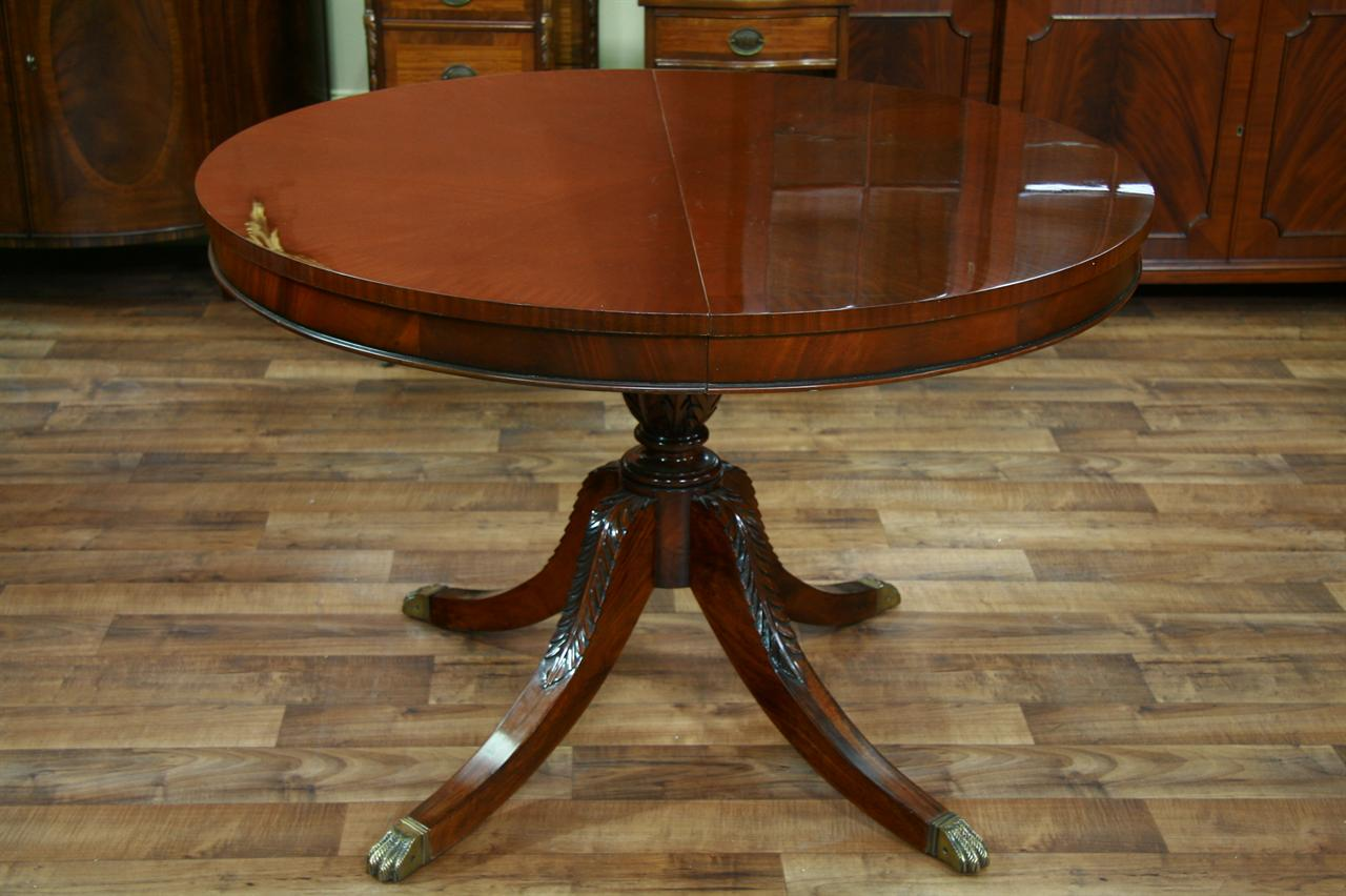 44 Round Mahogany Dining Table With Leaf Drum