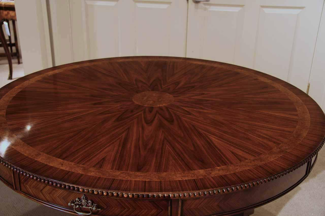48 inch round formal duncan phyfe rosewood dining table with pie cut rosewood and inlaid