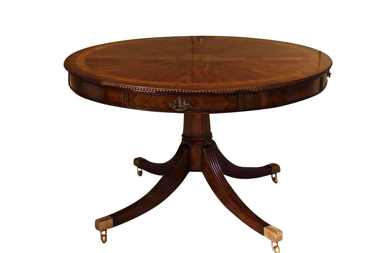 48 Inch Round Formal Duncan Phyfe Rosewood Dining Table With Drawers