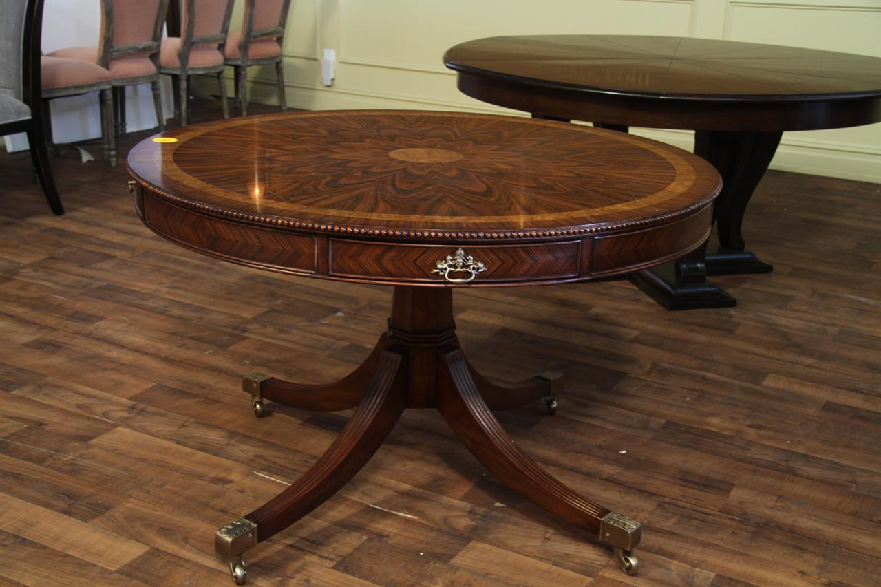 48 inch round formal duncan phyfe rosewood dining table with drawers drum table ebay. Black Bedroom Furniture Sets. Home Design Ideas