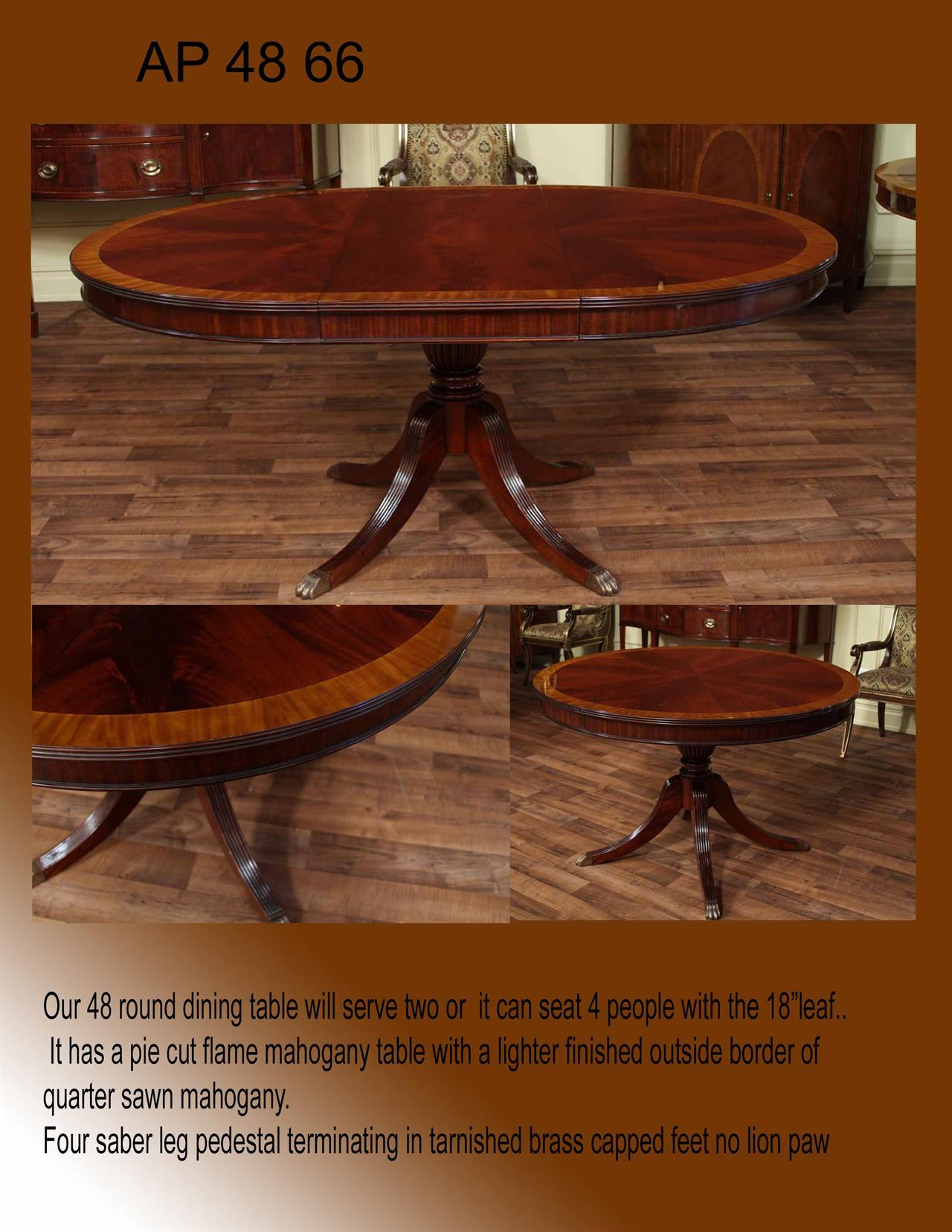 48 in round mahogany dining table we have improved upon this older design but it will be similar to this