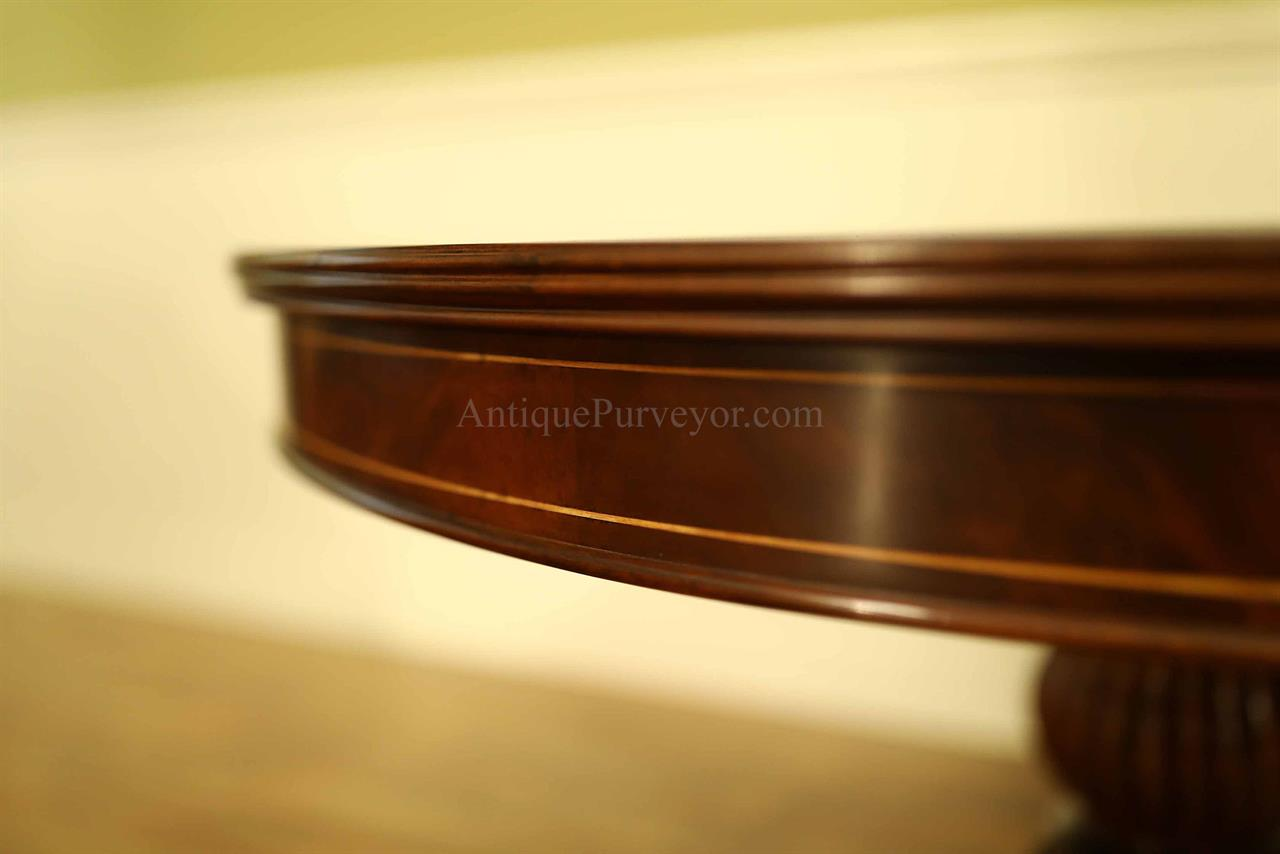 48 Inch Round Mahogany Pedestal Table With Leaf