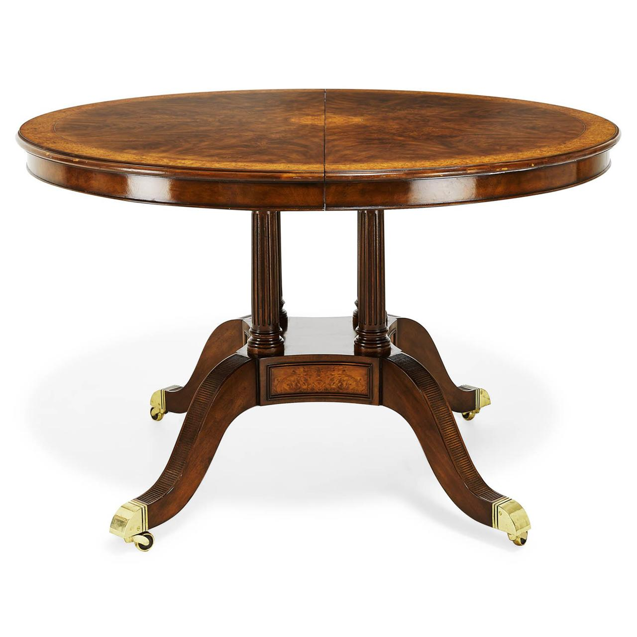 48 inch round to oval walnut and yew banded dining table for Dining room tables 48 round