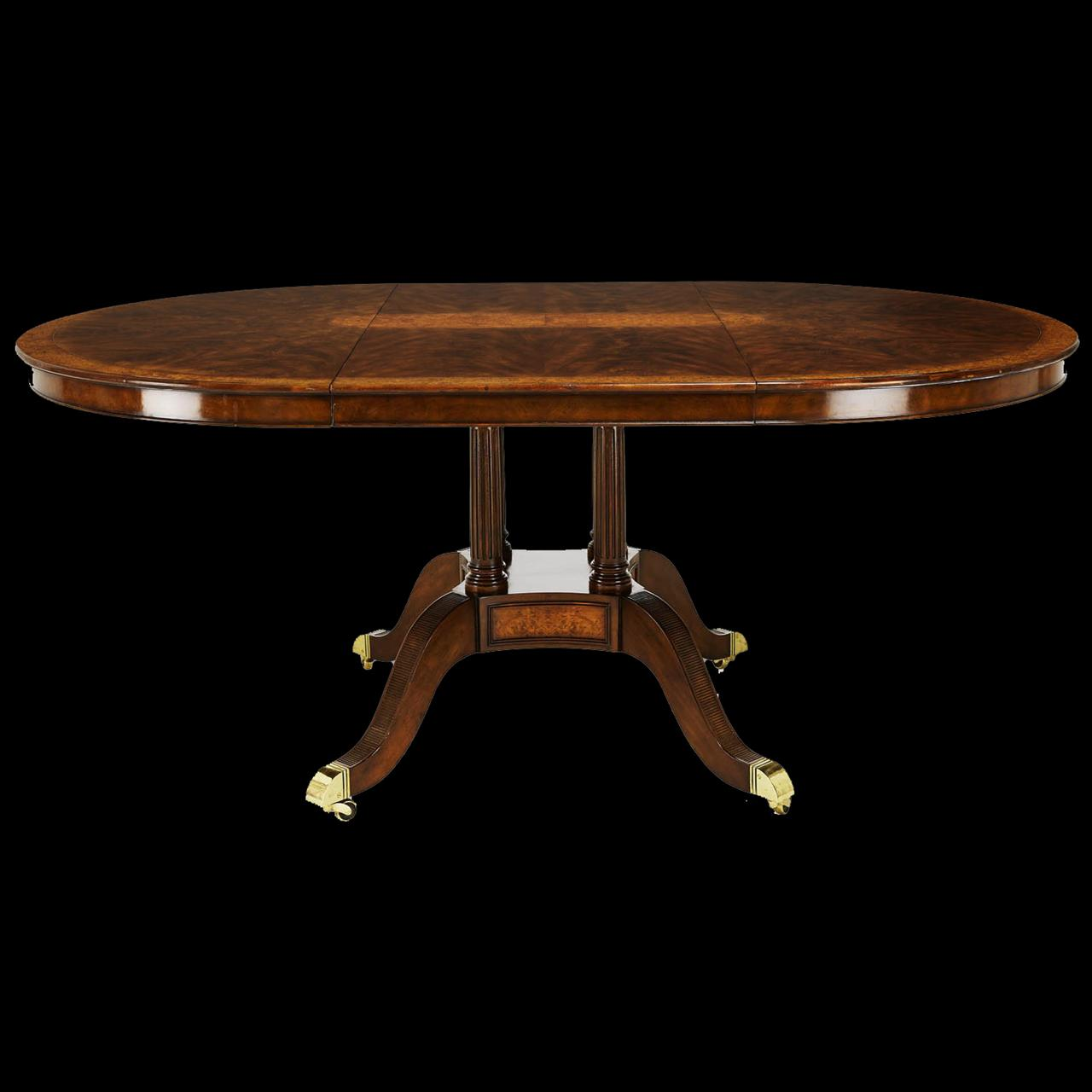 48 Inch Round to Oval Walnut and Yew Banded Dining Table  : 48 inch round to oval walnut dining table and leaf opens to 72 inches 12408 from www.antiquepurveyor.com size 1280 x 1280 jpeg 66kB