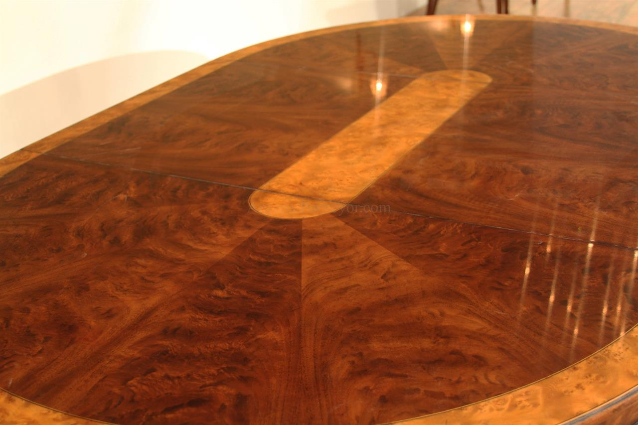 Inch Round To Oval Walnut And Yew Banded Dining Table Leaf - Burled walnut dining table
