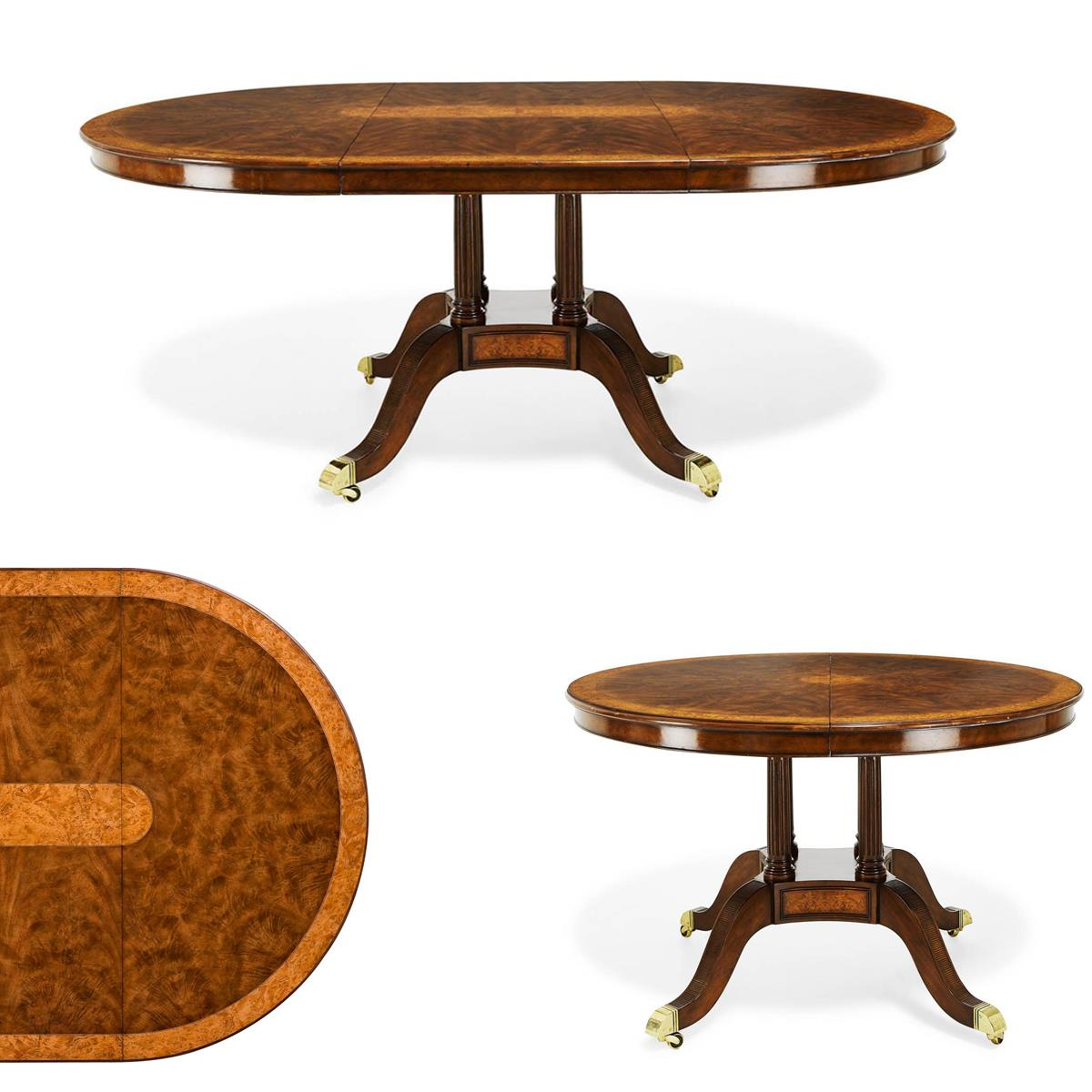 48 Inch Round To Oval Walnut Dining Table And Leaf Opens To 72 Inches