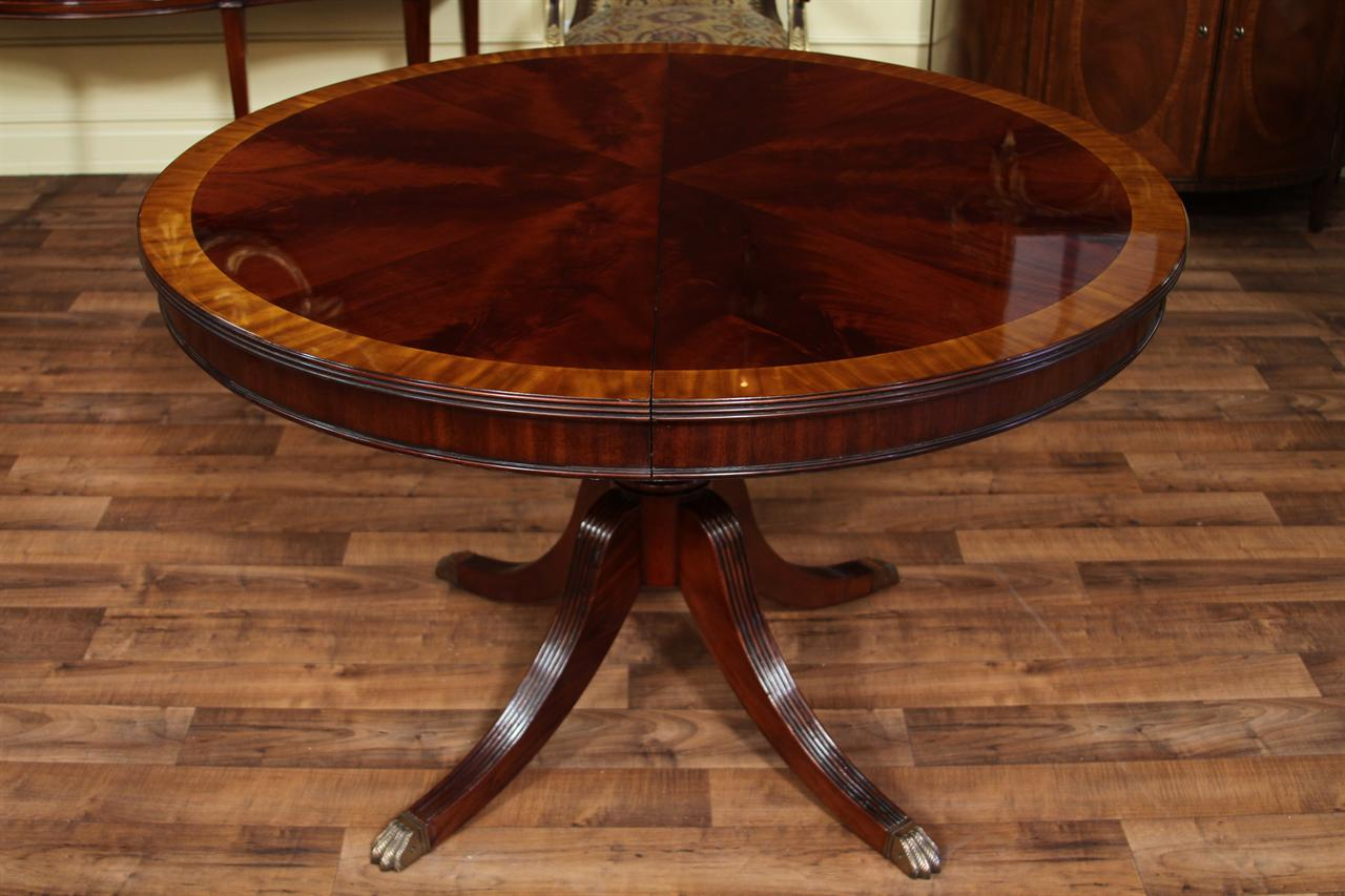 round dining room table with leaves | Round Mahogany Dining Table with Leaf, Four Leg Reeded ...