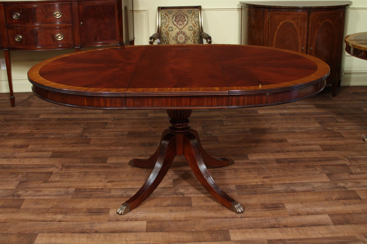 Heirloom Quality Traditional Mahogany Dining Table Round To Oval Expands 66