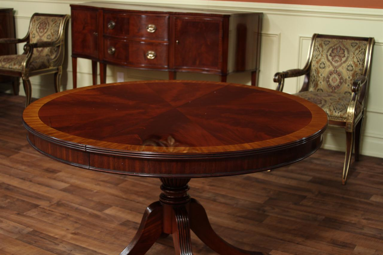Round mahogany dining table with leaf four leg reeded for Dining room tables 48 round