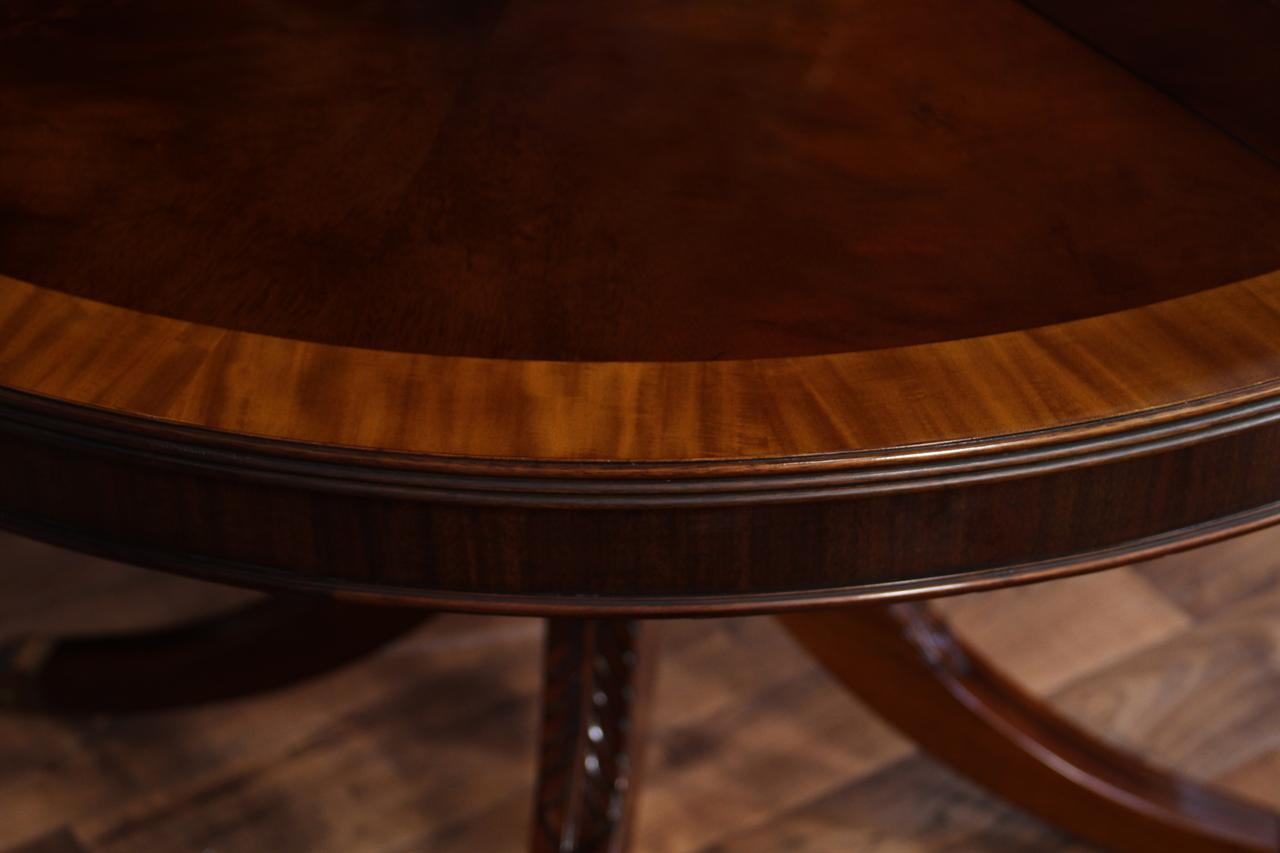 48 Quot Round To 66 Quot Oval Mahogany Dining Table Reproduction