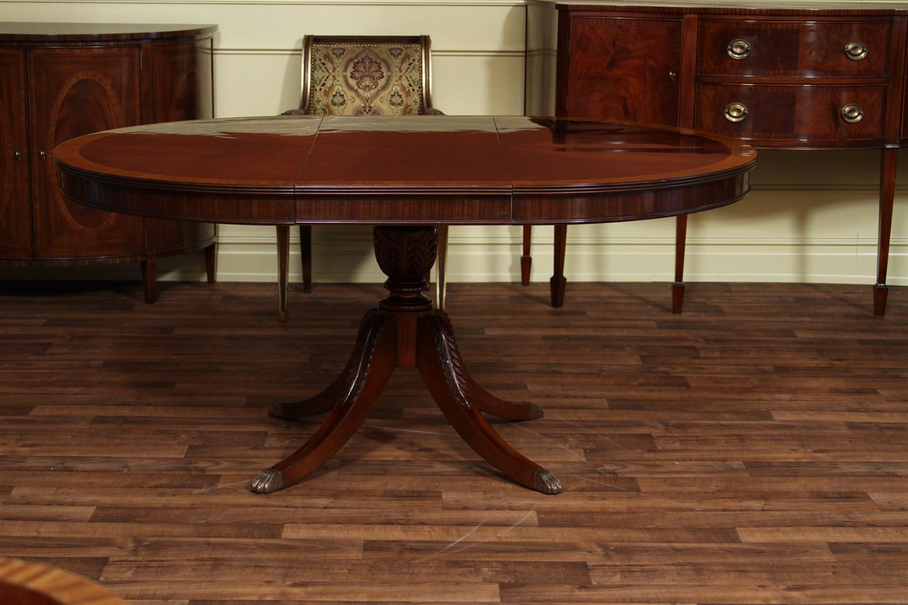 48 round to 66 oval mahogany dining table reproduction for Dining room tables 48 round
