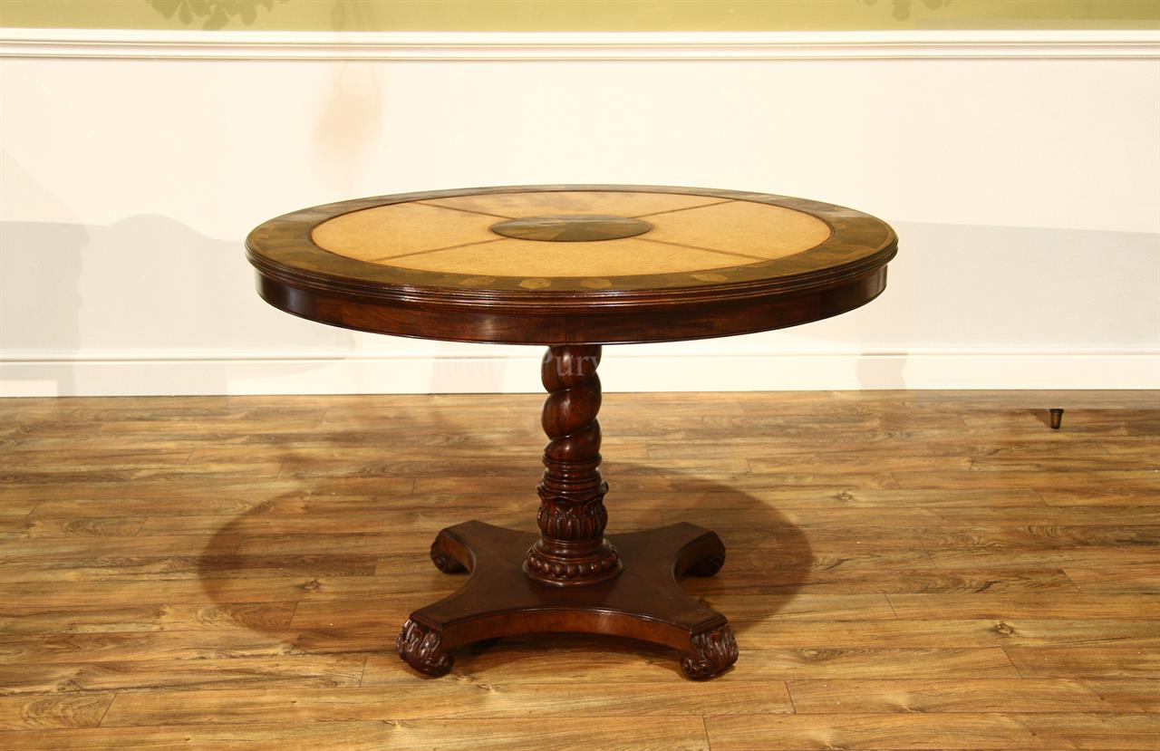 "48"" Walnut Leather Top Regency Style Center,Games or Breakfast Table"