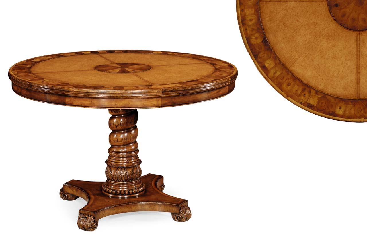 Traditional Oyster Burl Center Table With Leather Top