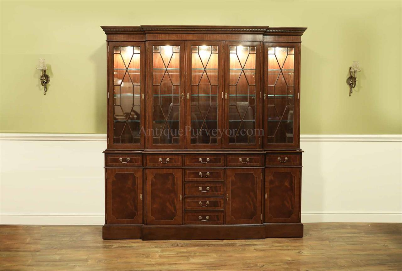 Traditional High End Mahogany Dining Room China Cabinet With Oak Drawers