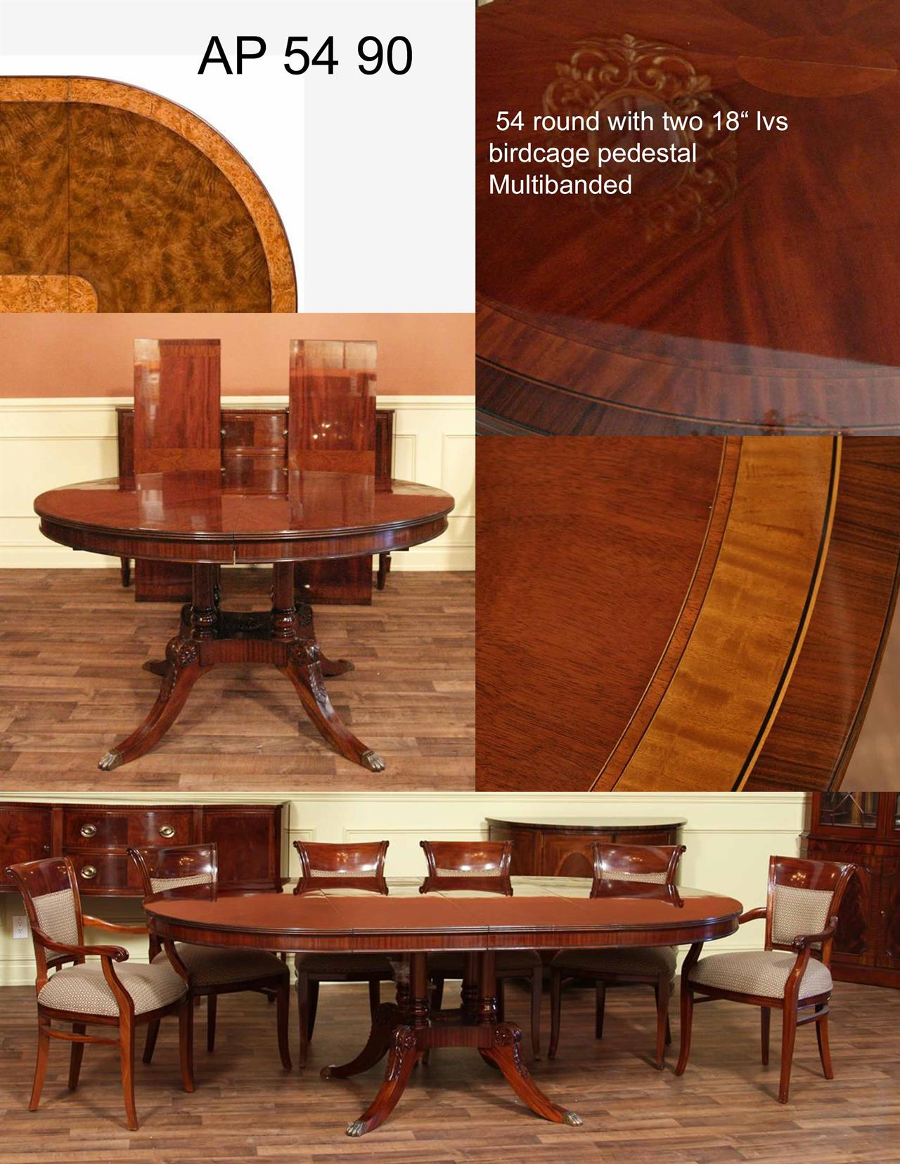 Traditional round mahogany dining table