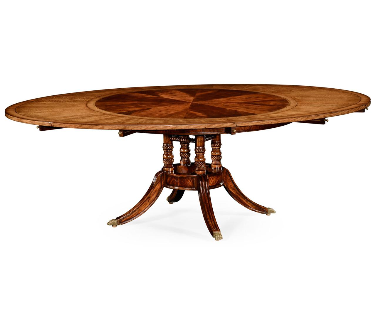 Round to oval table with perimeter leaves.