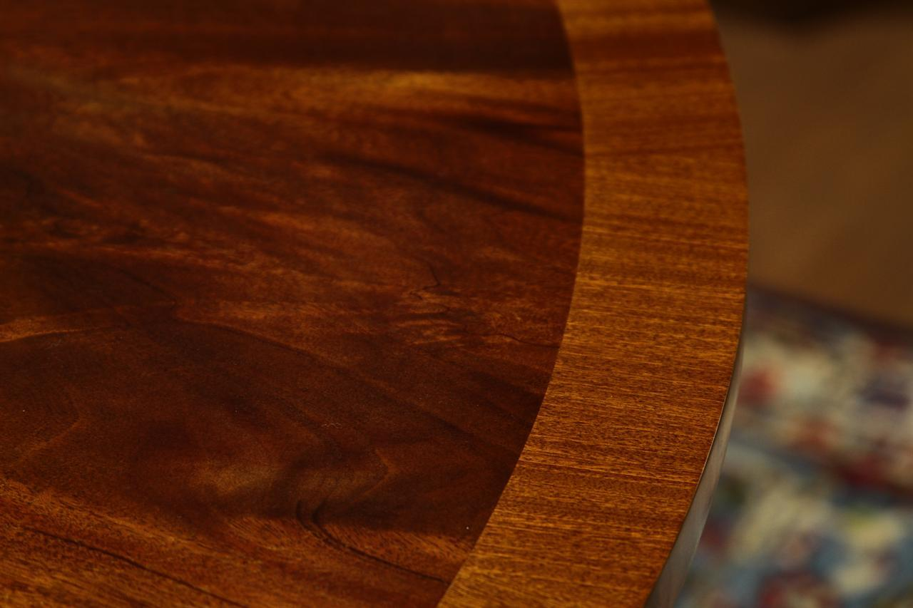 Round To Oval Mahogany And Satinwood Banded Perimeter Table