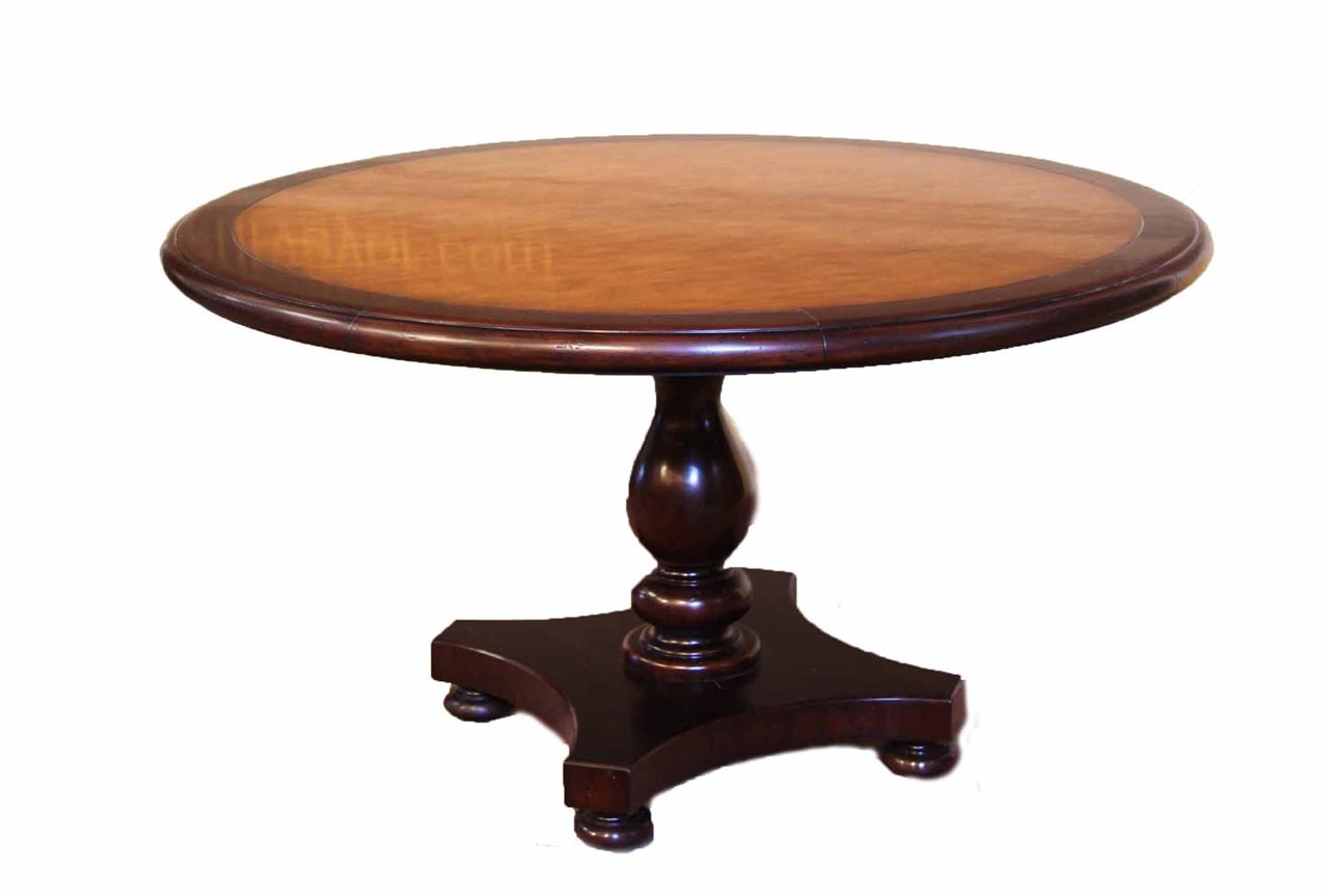 54 round blonde pine center table kitchen or dining table for Dining room round table