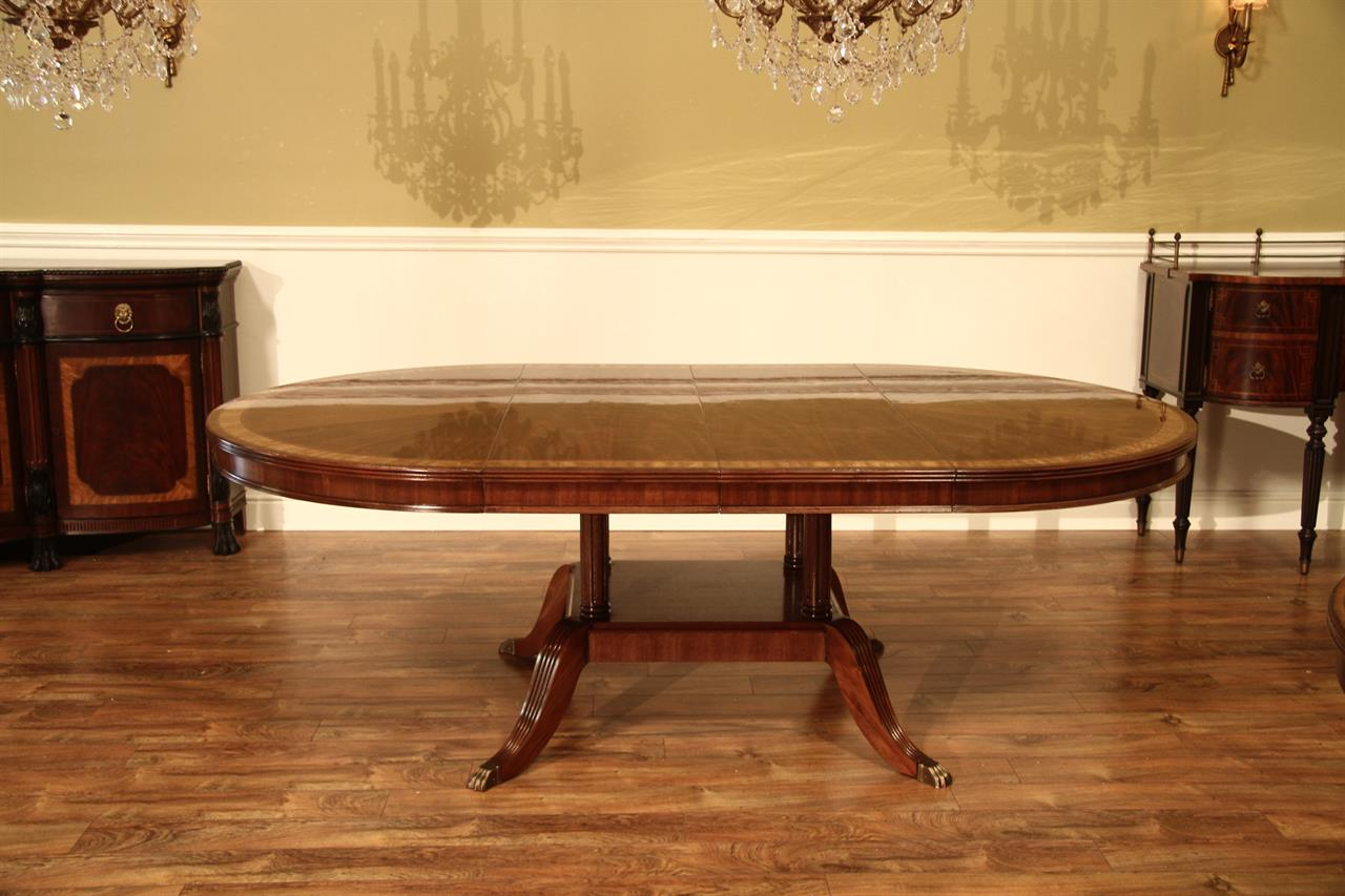 54 Round to Oval Mahogany Dining Table