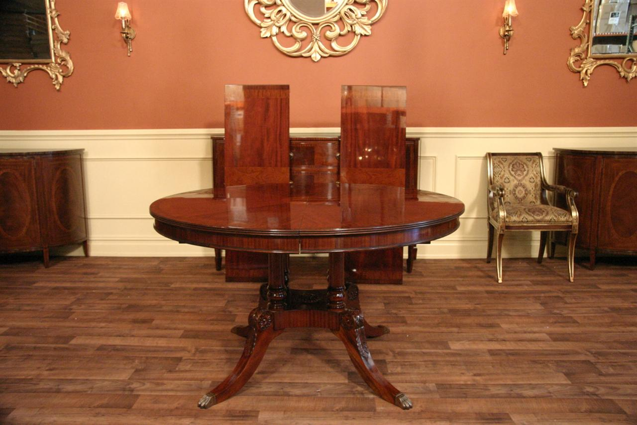 54 round to oval mahogany dining table with leaves ebay. Black Bedroom Furniture Sets. Home Design Ideas