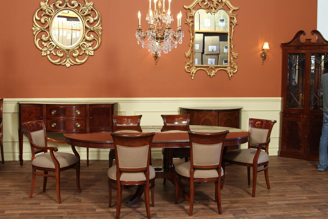 54 round to 90 oval mahogany pedestal dining table with for Round dining room table with leaf