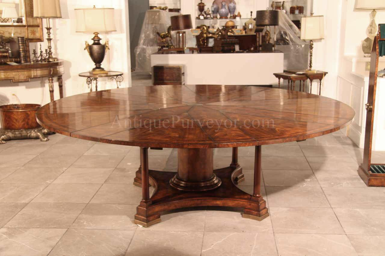 84 Inch Round Mahogany Dining Table With 8 Leaves In Place