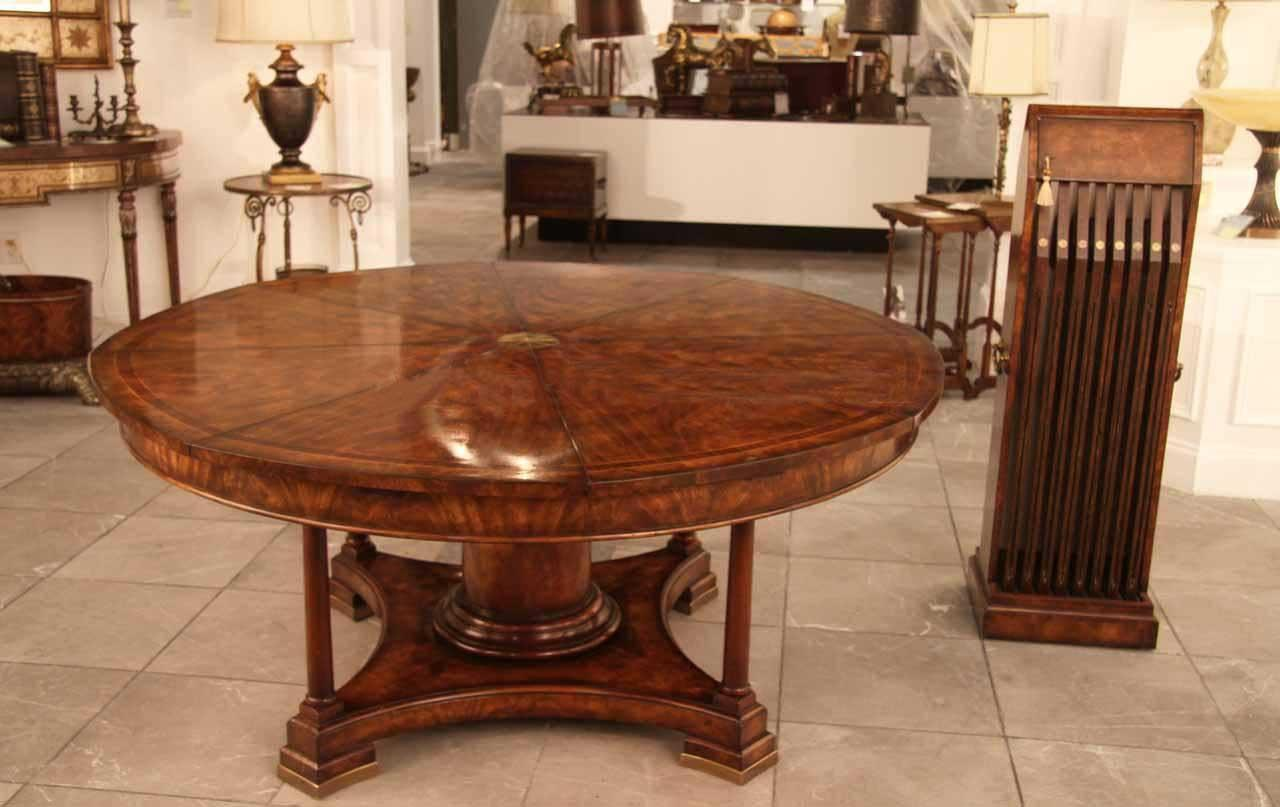 Luxurious 64 inch round dining table opens to 84 inch with Round dinner table for 10