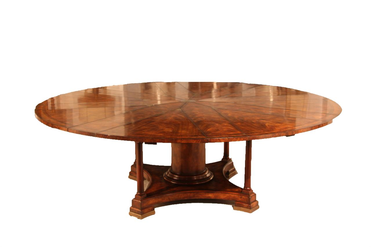 90 round mahogany radial dining table with jupe patent action for Mahogany dining table