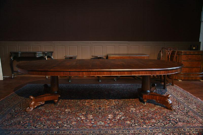 Victorian Reproduction Round Mahogany Dining Room Table With 5 Leaves In Place Seats 12