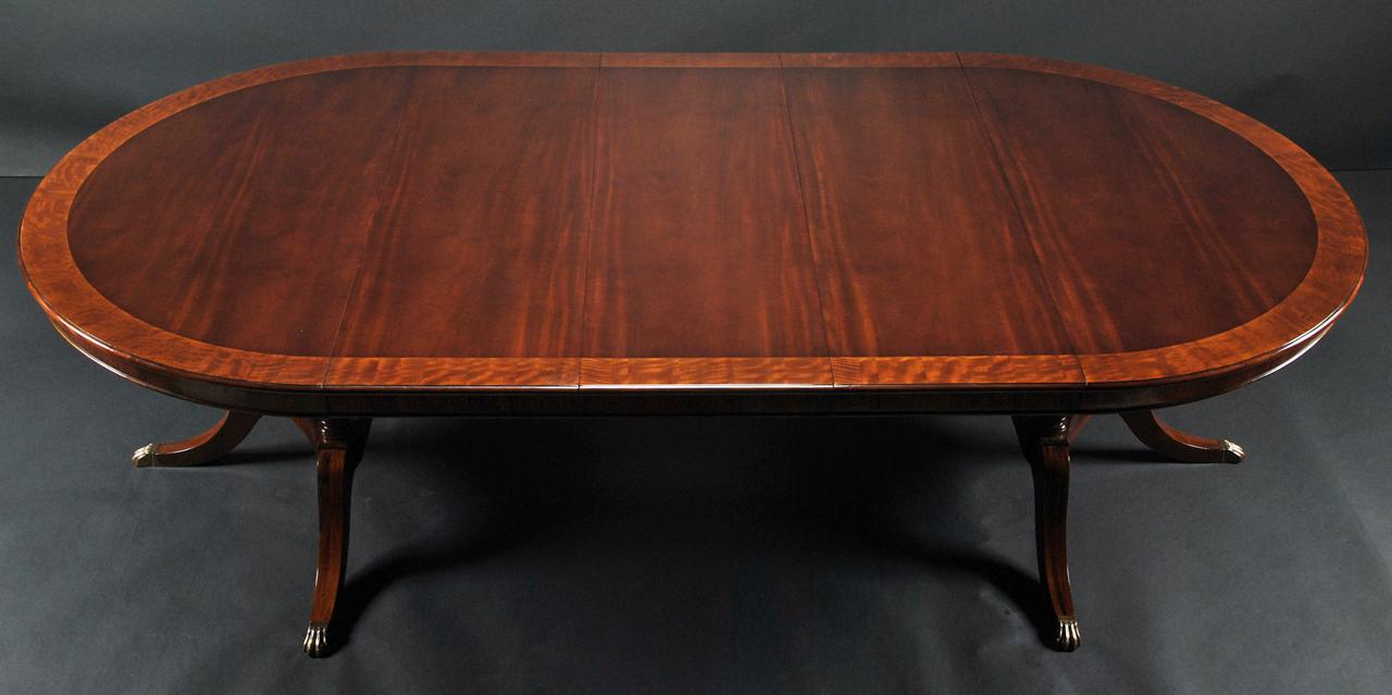 60 Inch To 115 Inch Round To Oval Mahogany Dining Table With 3 Leaves EBay