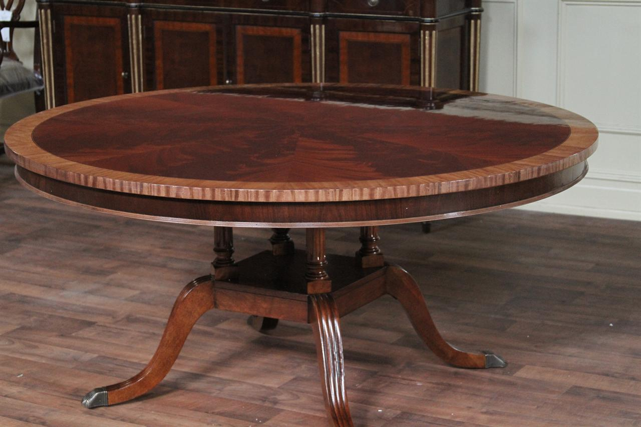 60 Round Flame Mahogany Dining Table With Satinwood Banding And Birdcage Pedestal Base