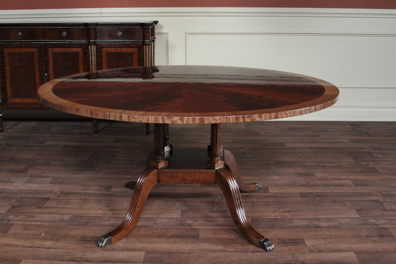 "60"" Round Mahogany Dining Table, Single Pedestal Dining ..."