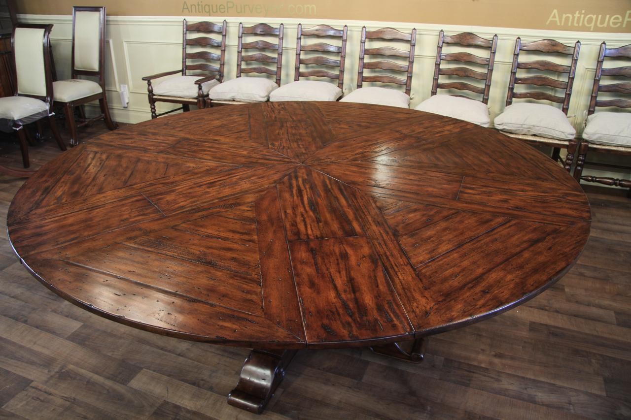 Charming Round Expandable Rustic Dining Table With Hidden Leaves