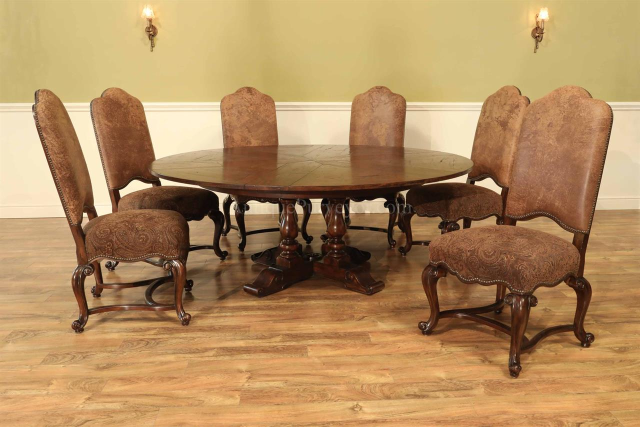 62-78 Rustic Round to Round Jupe Dining Table with Hidden Leaves